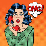 Shocked Young Woman Talking on the Phone. Pop Art Royalty Free Stock Photography