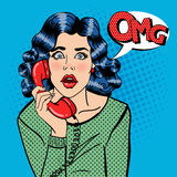 Shocked Young Woman Talking on the Phone. Pop Art Royalty Free Stock Photos