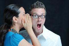 Shocking. Image of a shocking secret being told Royalty Free Stock Photography