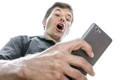 Shocking cell phone text message Royalty Free Stock Photo