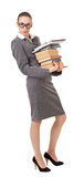 Shocking librarian with books Royalty Free Stock Photo