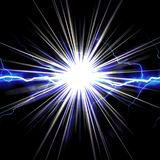 Shocking Lightning Burst. Bright glowing lightning or electricity glowing with a star bust flare accent Royalty Free Stock Images