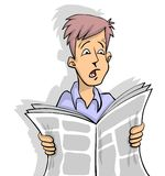 Shocking News. Man is reading shocking news in newspaper white background Royalty Free Stock Photography