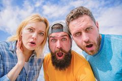 Shocking news. Amazed surprised face expression. How to impress people. Shocking impression. Men with beard and woman. Shocking news. Amazed surprised face royalty free stock image