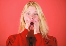 Shocking news concept. Girl shocked overwhelmed by surprise. Surprised woman cant believe her eyes. Christmas is coming. Soon. Lack of time. Shocked face blonde stock photography