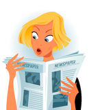 Shocking news vector. Young woman reading some shocking news. Vector based illustration Stock Photography