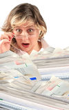 Shocking pile of bills Royalty Free Stock Photo