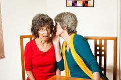 Shocking senior gossip. Two senior ladies gossiping and whispering shocking news Royalty Free Stock Photography