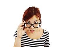 Shockkvinna i exponeringsglas Arkivbilder