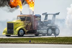 Shockwave the Jet Truck with Fire. `Shockwave the Jet Truck with Fire ` is photo taken at the Thunder in the Valley Airshow 2017, located in Columbus, Georgia royalty free stock photography