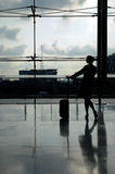 Shodow of silhouette of flight attendant at the airport Royalty Free Stock Images
