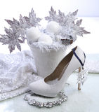 Shoe. Christmas set with women shoe and decoration Royalty Free Stock Photos