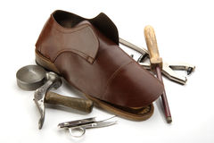 Shoe. A handmade shoe and supplies royalty free stock image