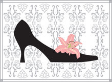 Shoe. Retro-styled glamour shoe and flower Stock Image