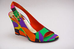 Shoe. Colorful shoe with geometrical ornament Royalty Free Stock Image