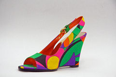 Shoe. Colorful shoe with geometrical ornament Stock Photo