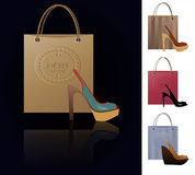 Shoe addiction. Set of 4  illustrations of modern fashion shoes with a shopping bag Stock Photos