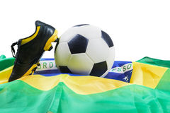 Shoe, ball, and flag isolated Stock Photos