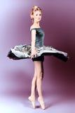 Shoe ballet. Beautiful ballet dancer posing at studio Royalty Free Stock Photo