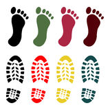 Shoe and bare foot print set Royalty Free Stock Photo