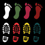 Shoe and bare foot print. Set - vector Stock Images