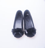 Shoe. black colour fashion woman shoes on a background. Royalty Free Stock Photos