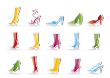 Shoe and boot icons Royalty Free Stock Photos