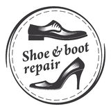Shoe & boot repair, men`s and women`s shoes. Round frame. Vector illustration Royalty Free Stock Photo