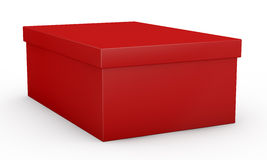 Shoe box. Close up view of one red shoe box (3d render Royalty Free Stock Photos