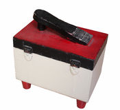 Shoe box. Old shoe box for polishing shoes. Polish is stored inside Royalty Free Stock Photo