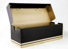 Shoe Box. Front and side views of black and tan empty shoebox with lid open. White background Stock Image