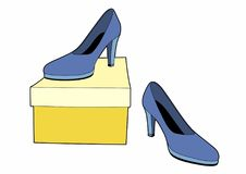 The shoe on the box. Vector illustration of fashionable shoes, EPS 8 file Stock Photos