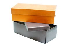 Shoe boxes. On white background Stock Image