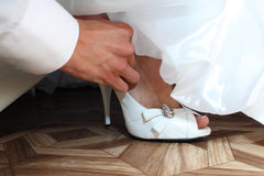 Shoe of the bride Royalty Free Stock Images