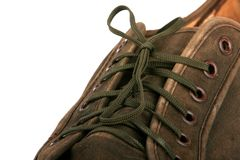 Shoe Brown. Brown army shoe isolated on white Stock Images