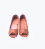 Shoe. Brown colour fashion woman shoes on a background. Stock Image