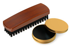 Shoe brush with can of shoe polish Royalty Free Stock Photography