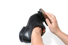 Shoe brush and hand Royalty Free Stock Photo