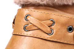 Shoe buckle. Beautiful shot of leather shoe buckle Royalty Free Stock Photo