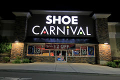 Shoe Carnival store at night Royalty Free Stock Image