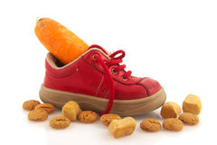 Shoe with carrot Royalty Free Stock Image
