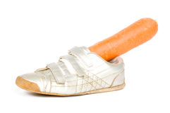 Shoe with carrot for the horse from Sinterklaas Royalty Free Stock Image