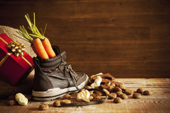 Shoe with carrots, for Dutch holiday 'Sinterklaas' Royalty Free Stock Image