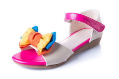 Shoe. child's sandals on a Background Stock Image