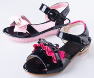 Shoe. child's sandals on a Background Royalty Free Stock Photography
