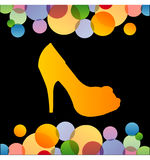 Shoe with colorful circles Royalty Free Stock Image
