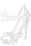 Shoe. Coloring books for adults. Royalty Free Stock Photo