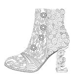 Shoe coloring  page for adults. Art Therapy. Line art illustration Stock Photos