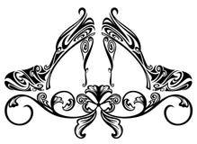 Shoe design. Ornate shoes design element - black and white floral swirls vector illustration Royalty Free Stock Images