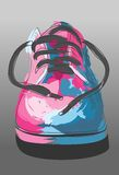Shoe draw. Digital illustration shoe painted with splashes of color Stock Photo